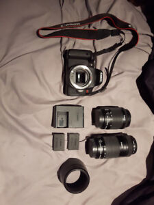 Canon T6i + 18-55mm f/3.5-5.6 + 55-250mm f/3.5-5.6 + 2 batteries
