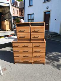 37. Starplan 8 drawer chest and 2 matching lockers