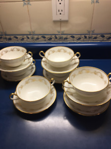 "Aynsley Bone China  ""Louis XV"" Cream Soup and Saucer Set of 7"