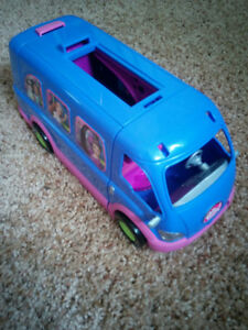 Polly Pocket party van, clothes store and mobile home, $15