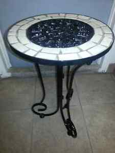 Wrought Iron Based Accent Table with Marble Mosaic Surround