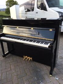 Winchester black polyester upright piano  Belfast Pianos.