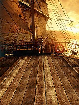 10X20FT Pirate Ship Vinyl Photography Backdrop Background Studio Props Sailboat