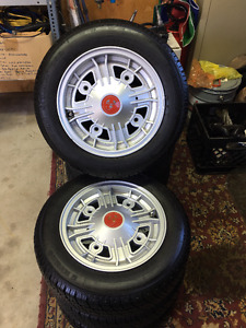 Vintage Fiat 500 12 inch Rims and Tires Set of 4