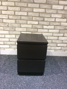 IKEA Malm 2 Drawer Chest Nightstand Black-Brown