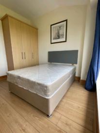 New Double Divan Bed & Mattress 🙂 Plush & Plain Fabric