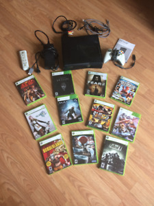 Xbox 360 kinect with controller, remote, and 11 games