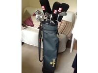 Full set golf clubs, trolley and bag