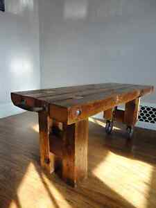 "Coffee Table 3"" thick, reclaimed barn beams. London Ontario image 1"