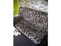 Black/White Zebra Print Click-Clack Sofa Bed