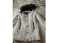 Winter white padded fur hooded coat new size 14