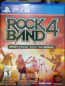 Rock band 4 for ps4 with guitar, drum set and microphone