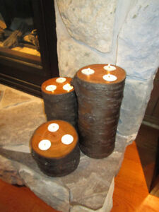 Rustic Cherry Wood Candle Holders