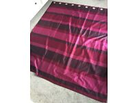 Purple Dunelm curtains with matching cushion covers