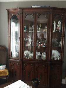 Custom made china cabinet, dining table with 6 cane back chairs