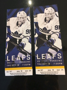 Oct. 18th Toronto Maple Leafs vs. Pittsburgh Penguins