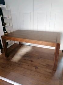 Wooden dining table extending walnut