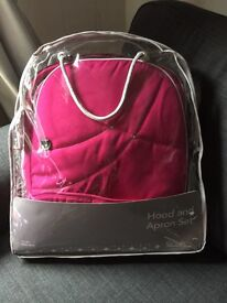 NEW Silver Cross Raspberry Pink Wayfarer / Pioneer Hood And Apron Colourpack