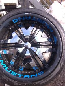 Mag cromer et noir, pneus,tires, Mustang mag 20 pouces