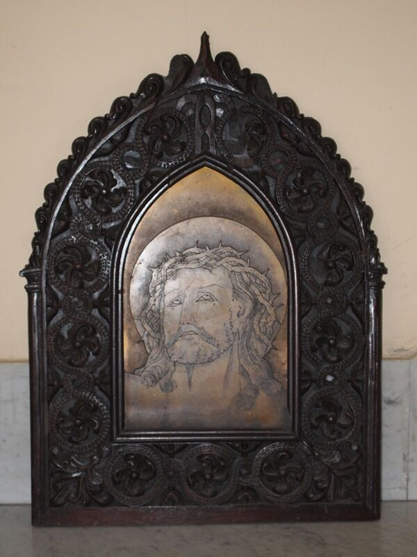 Antique Gorgeous Wooden Portrait Church Ornate Metal Carved Jesus Face