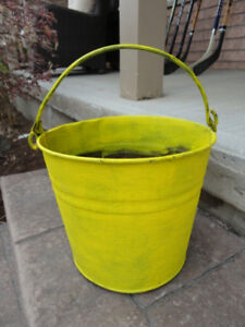 Yellow Decor Metal Pail.  Great for plants, Our Outdoor decor
