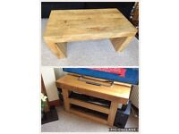 Oak Furniture Land coffee table and TV stand excellent condition.