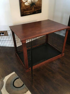 Full custom made dog crate, TOP PAW, with wood. Dog cage.