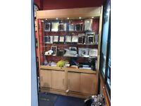 5 LED Lit Light Oak Wooden Sliding Glass Doors Display Cabinet