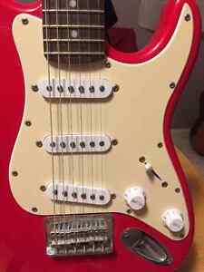 Red Fender Squire Mini child sized electric guitar Williams Lake Cariboo Area image 3