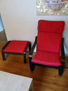 NEW PRICE!  Red/Black POANG arm chair and footstool