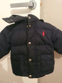 Ralph Lauren original padded jacket with hood in navy, size - 12 month