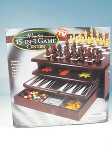 Wooden 15-in-1 Game Center, new