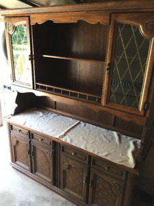 Wood china cabinet hutch 2 piece