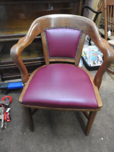Krug walnut antique office chair new  red wine colour leather