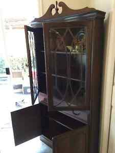 Corner China Cabinet - solid wood - 50+ years old!