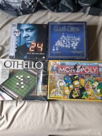 Board games & Glass chess set (Simpsons monopoly, Othello, 24 )