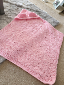 Hand knitted chunky hooded baby blanket