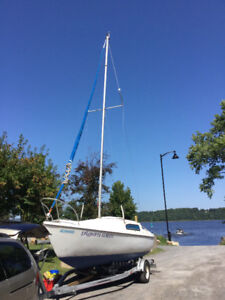 Sailboat, trailer, outboard