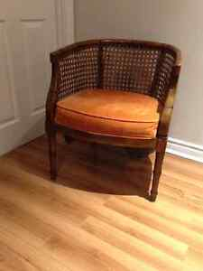 Mid Century Cane Barrel Chair