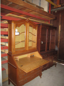 ANTIQUE OAK SECRETARY DESK & MAPLE CHINA CABINET HUTCH