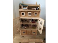 Wooden Doll's House and accessories for sale - originally from ELC