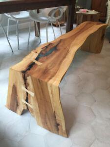 Tranche arbre bois slab planche plot wood banc tablette table