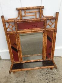 Vintage Japanese Style Bamboo Wall Mirror