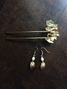 Homemade Chinese style hair pins and earrings