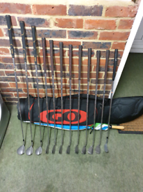 Full set of golf clubs with bag, balls and tees