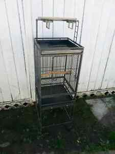 Bird cage with two perches