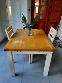 Extendable Oak Dining Table & 2 Chairs