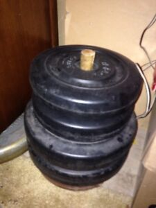 Over 300 lbs of weights (25, 10, 5, 2 1/2lbs) plus a bar $90 Kitchener / Waterloo Kitchener Area image 3