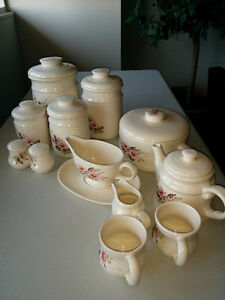 Stoneware - Canisters, gravy boat, teapot & cups etc
