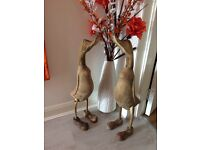 Pairs Of Hand Carved Wooden Jumbo Ducks with Shoes